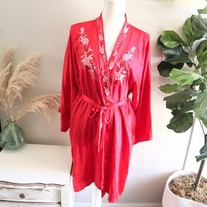 Chinese vintage 60s 70s red silk shirt robe